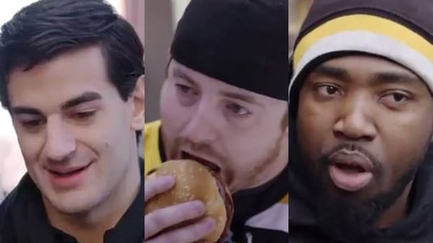 Montreal Canadiens forward Max Pacioretty, left, offered free burgers to Bruins fans, and tricked them into praising him in a McDonalds commercial filmed in Boston.