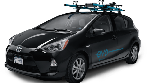 BCAA's new car sharing service, Evo, is a fleet of Toyota Prius Hybrid cars, each equipped with a roof rack.