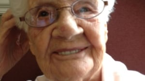 Maude Boone 102-year-old with new dentures