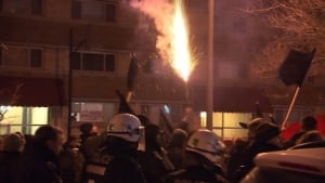student protest montreal roman candle