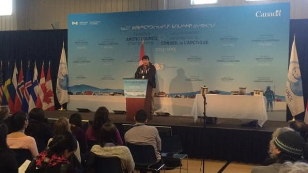 Inuvialuit Circumpolar Council President Duane Smith opens the Circumpolar Mental Wellness Symposium in Iqaluit Wednesday. The Symposium ends on Friday.