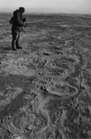 Len Hills with mammoth tracks