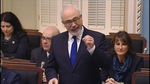 Quebec Finance Minister Carlos Leitao accuses the opposition parties of delaying debate on Bill 28.