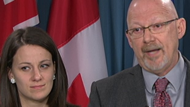 NDP public safety critics Rosane Doré Lefebvre and Randall Garrison presented their party's proposed amendments to the government's anti-terror bill at a press conference on Friday.