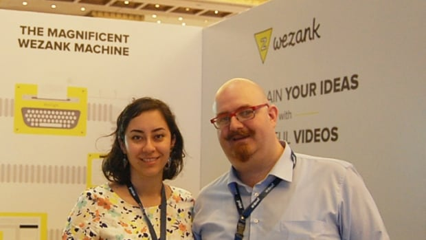 At this year's ArabNet tech conference, Maya Zankoul, left, was promoting her new venture Wezank, which produces explainer videos that introduce products or initiatives, satisfying a growing demand in the Middle East for easily digestible audio-visual guides.