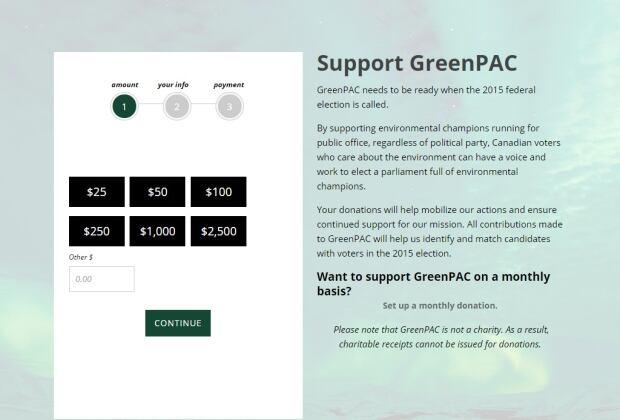 GreenPAC donate page