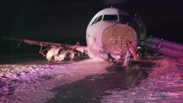 The plane was badly damaged in the crash.