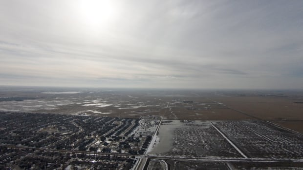 Bourassa snapped this photo showing wet fields on the edge of Regina's northwest, near where the Skyview subdivision will be built.