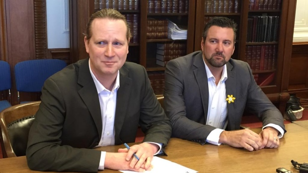 NDP MLAs Dave Gaudreau and Rob Altemeyer came up with the controversial pledge last spring after a bitter leadership crisis divided the caucus.