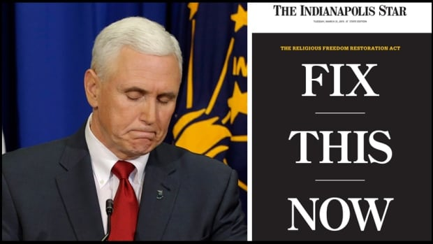 Indiana Goveror Mike Pence has vowed to amend the state's religious freedom law to clarify the bill will not allow for any discrimination against gays, lesbians or anyone other group on religious grounds. In a front-page editorial, right, The Indianpolis Star newspaper demanded a response to the bill amid widespread criticism.