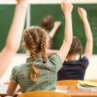 141409255 -Kids raise hands in classroom