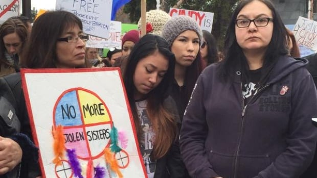 Members of Cindy Gladue's family attended a rally in Edmonton in April 2015, a month after the Crown launched an appeal of the verdict.