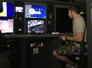 Monitoring drone surveillance from inside the van