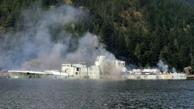 The HMCS Annapolis slips beneath the waters of the Pacific Ocean off Gambier Island, northwest of Vancouver.