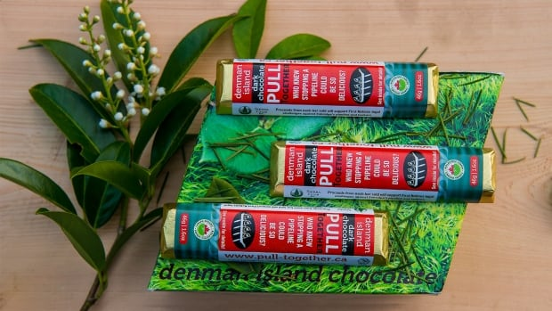 Proceeds from the sale of this Denman Island Chocolate bar will be given to seven First Nations to help in their legal challenge to the approval of Enbridge's Northern Gateway pipeline.
