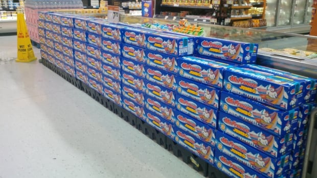 An example of a portion of the volume of Mr. Freeze Jumbo boxes stolen overnight on Wednesday.
