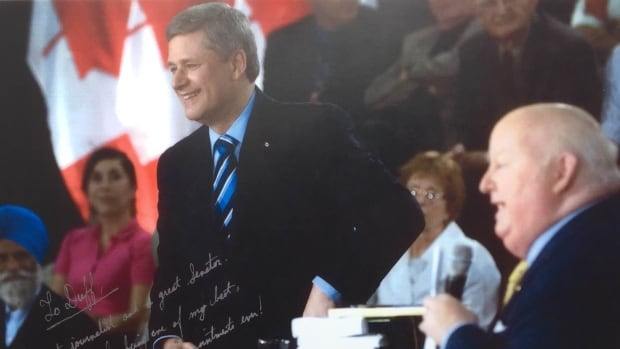 The photo signed by Prime Minister Stephen Harper and dated June 11, 2009, carries the message: 'To Duff. A great journalist and a great senator. Thanks for being one of my best, hardest working appointments ever.'