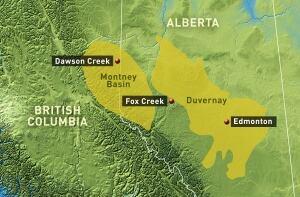 Map of fracking activity near Fox Creek, Alta.