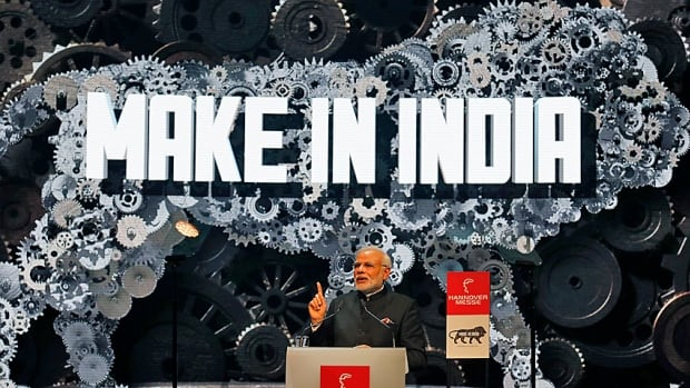 Open for business. India's Prime Minister Narendra Modi addresses the world's largest industrial technology fair, the Hannover Messe, in Hanover, Germany, earlier this month.  He has been on something of a world tour, trying to drum up industrial investment in job-hungry India.