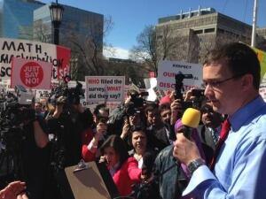 MPP Monte McNaughton at anti-sex ed protest