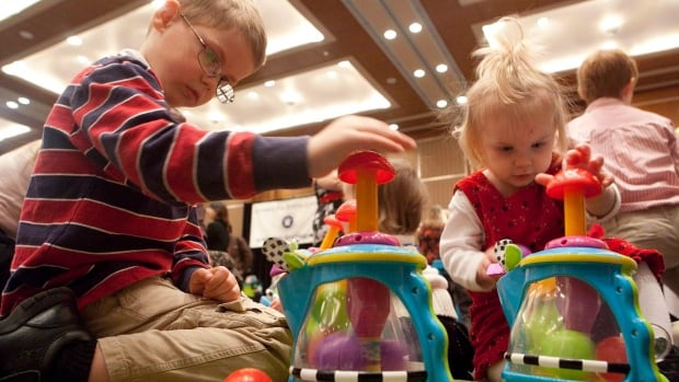 Children play during a 2010 Canadian Toy Testing Council event to announce its top toy picks.