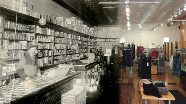 The Etzio or Shragg building then (1898) and when it was a clothing store for women (2014)