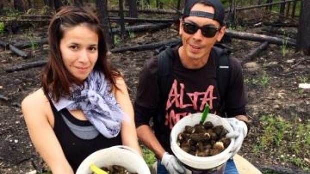 Jessica Minoza and friend, Riel Stevenson Burke pick morel mushrooms.