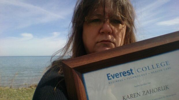Karen Zahoruk says the diploma she earned from Everest College is 'useless.' She wants the Ontario government to forgive her student loans.