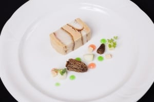 Dish prepared by chef Ryan O'Flynn with morel mushrooms