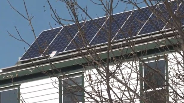 Solar panels capture sunlight and turn it into energy.
