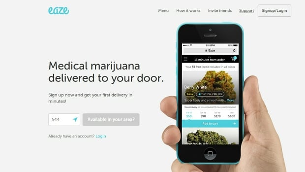 Eaze, a mobile app that facilitates marijuana delivery, is looking to expand to Vancouver and the rest of Canada.