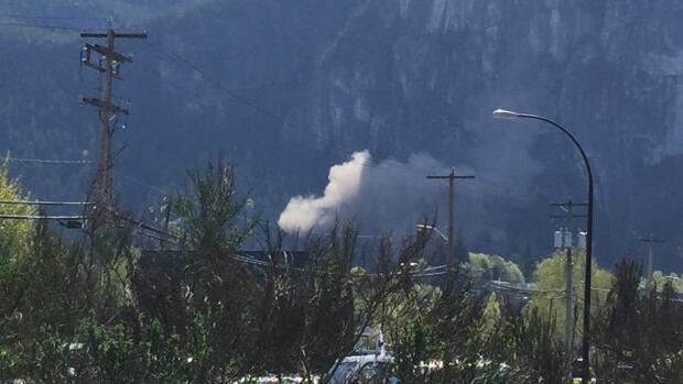 Dust cloud from rock slide