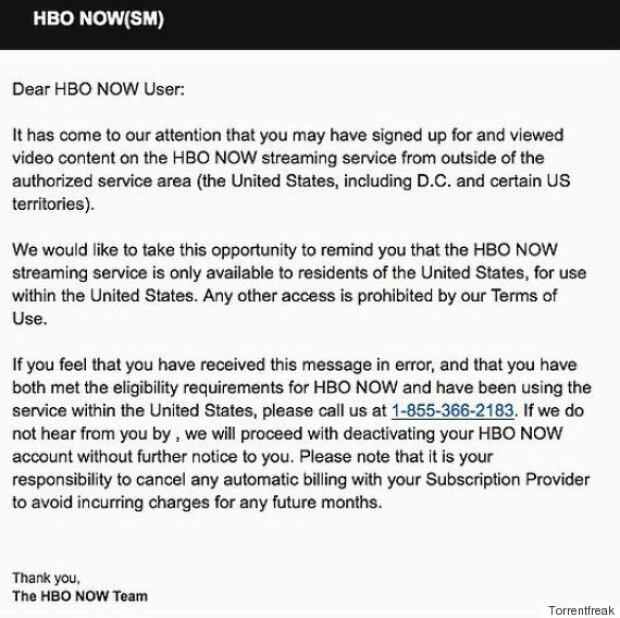 HBO Now Letter