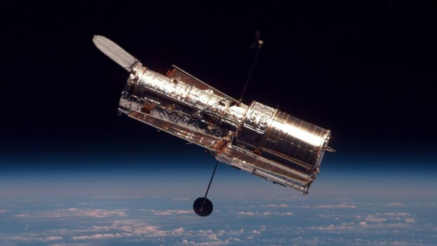 The Hubble Space Telescope was launched into space aboard the Discovery space shuttle on April 24, 1990.