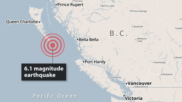 A 6.1 magnitude earthquake has struck British Columbia's north coast. The quake, 167 km southeast of the Village of Queen Charlotte, was felt from Haida Gwaii and along the north coast. There have been no reports of damage or injuries.
