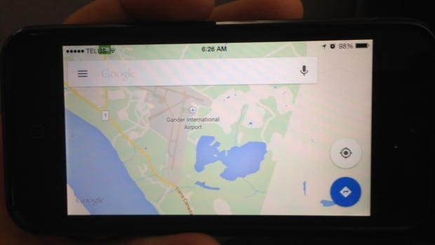 Mark Shardar says a Google Maps app on his cellphone took him down a treacherous back road near Gander, N.L., when he was trying to get to the airport to take a flight back to Toronto.