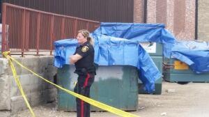 Tarped dumpsters