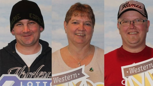The luck of the draw has put smiles on people faces, including (from left to right): David Renwick (won $72,000), Patricia Desjarlais (won $1M) and Curtis Chester (won $1M). All three purchased their lottery tickets in Kindersley, Sask.