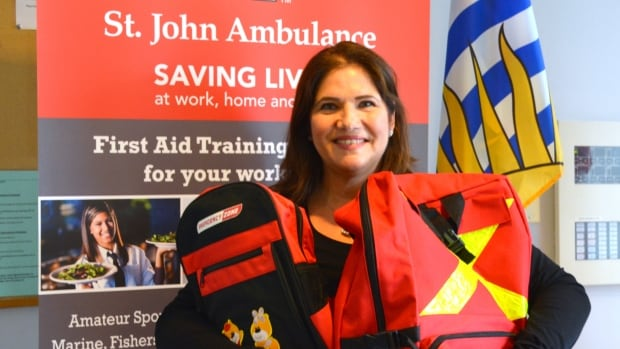 """Renee Bernstein of St. John Ambulance says every home should have an emergency kit ready to """"grab and go"""" for each member of the the family."""