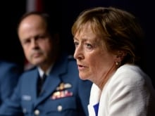 Marie Deschamps, a former Supreme Court justice is the author of an inquiry into sexual misconduct in the Canadian Forces. The report describes a problematic, sexualized culture inside the forces. General Tom Lawson, Chief of the Defence Staff, is at left.