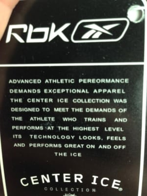 Reebok tag. Check the spelling to see if you have counterfeit NHL jerseys.
