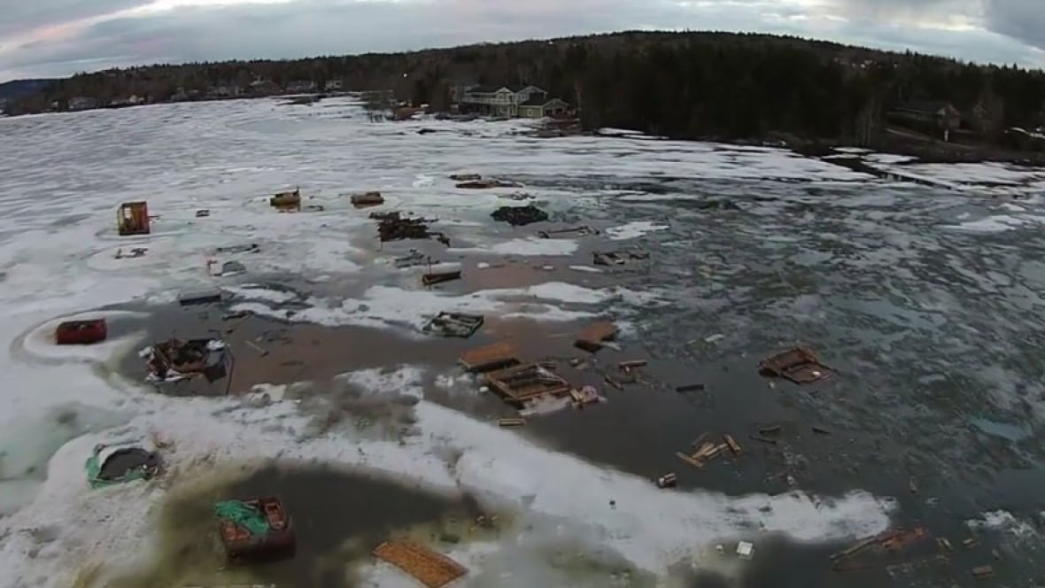 Ice fishing shacks debris on kennebecasis river revealed for Ice fishing canada