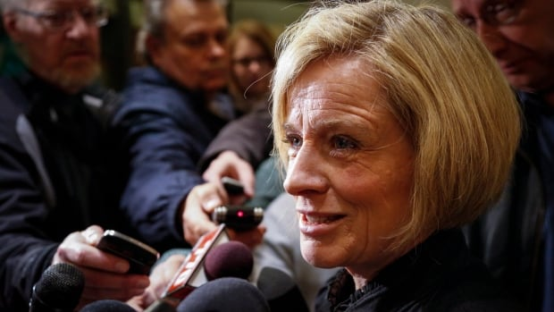Alberta NDP Leader Rachel Notley scrums during a campaign stop in Calgary on Thursday.
