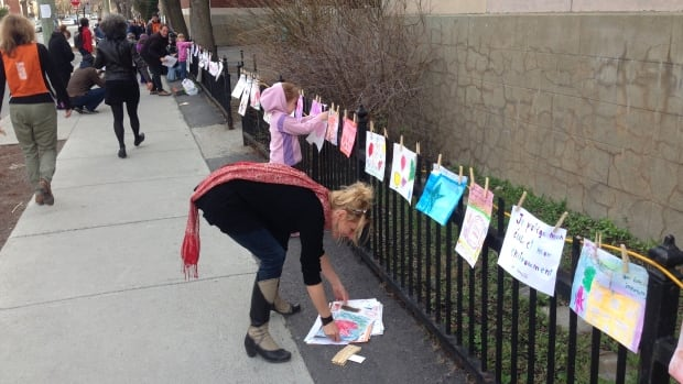 Students at Saint-Jean-de-Brébeuf made drawings in support of the May 1 morning protest.