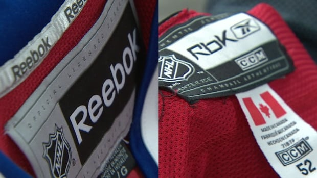 Which jersey tag is real? The one on the right is counterfeit. Tags are a bill tell in letting you know if you have counterfeit NHL jerseys.