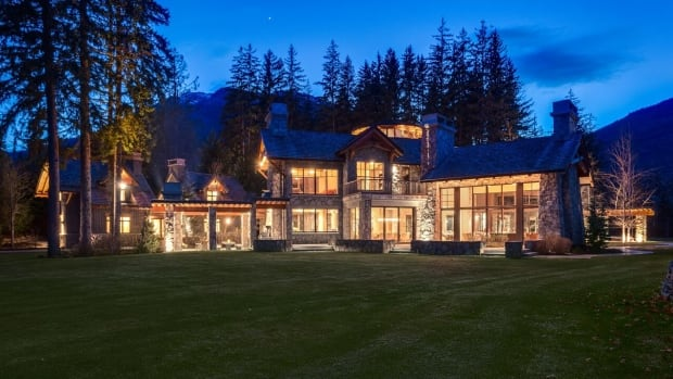 The eight-bedroom chalet sits on more than five acres overlooking Whistler-Blackcomb.