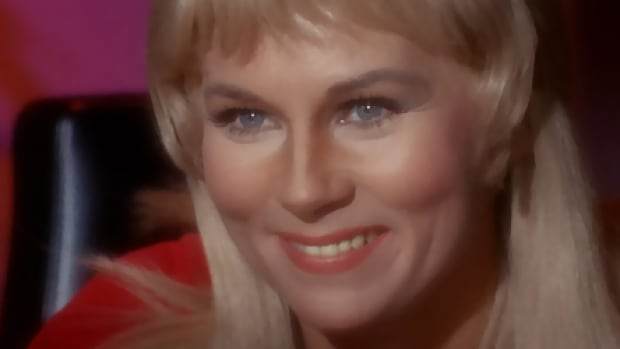 This image, taken from CBS Entertainment's website, StarTrek.com, shows American actress Grace Lee Whitney as Yeoman Janice Rand, the personal assistant to Captain James T. Kirk in the original Star Trek television series. Whitney died on May 1 at age 85, according to her son.