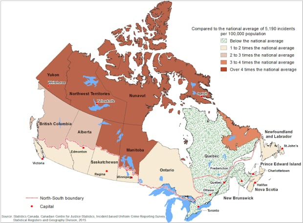 Northern Canada Crime Rate Map