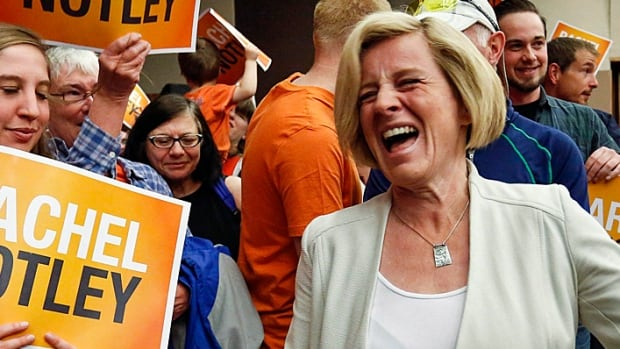 Alberta NDP Leader Rachel Notley laughs as she enters a campaign rally in Calgary on Saturday. Her party won a convincing majority of seats even in former Conservative bastions.