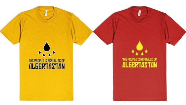 Residents of 'Albertastan' can now wear their customizable colours with pride, thanks to this t-shirt design by Edmonton-based graphic designer Laura Lynn Johnston.